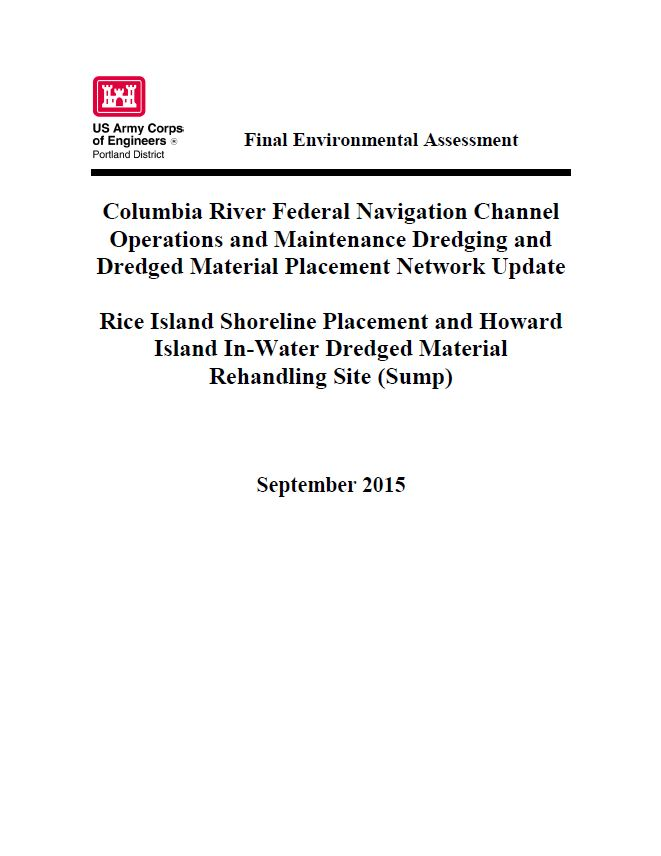 Columbia River Federal Navigation Channel operations and maintenance dredging and dredged material...