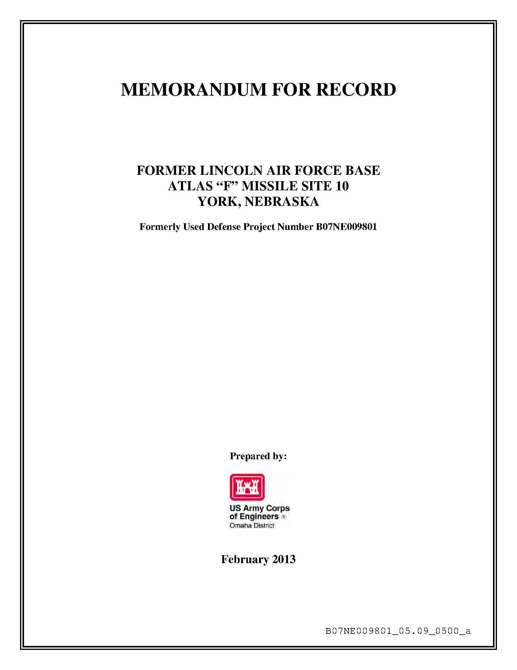 Memorandum For Record Former Lincoln Air Force Base Atlas F Missile Site